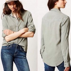 Cloth & Stone Luna Green Long Sleeve Button Shirt